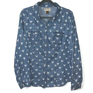 Bit & Bridle Horse Print Jean Button down Shirt